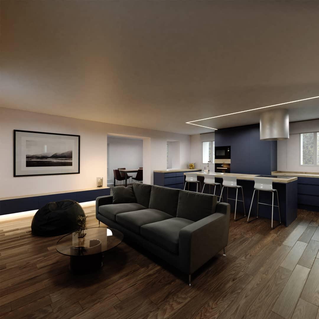 Vivienda en Burriana. Reforma interior cocina y salón sótano.